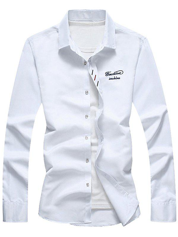 Button Down Long Sleeve Embroidery Shirt - WHITE 4XL