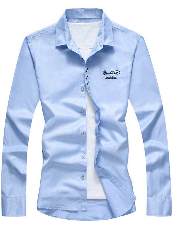 Button Down Long Sleeve Embroidery Shirt - BLUE 2XL