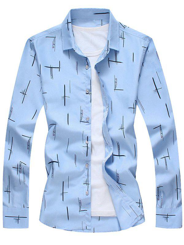 Turndown Collar Long Sleeves Print Shirt - BLUE L