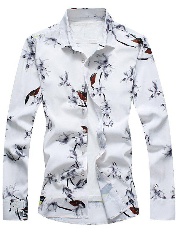 Retro Flower and Bird Print Shirt - WHITE L