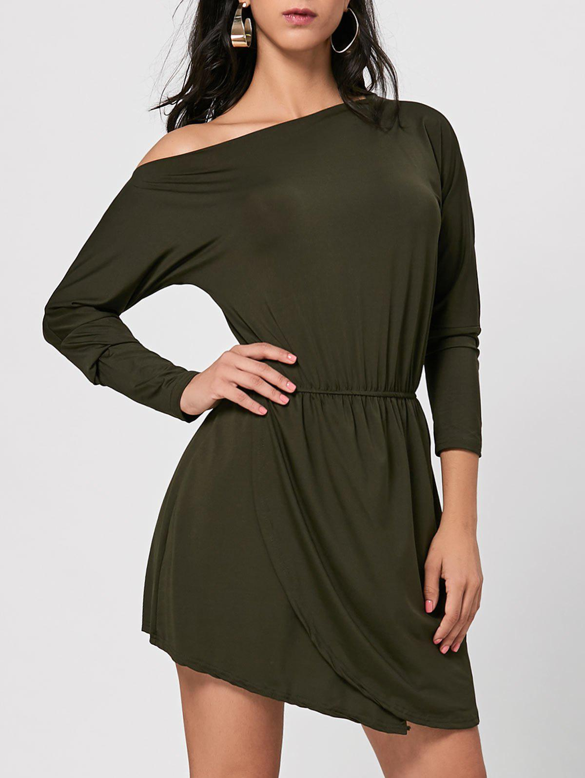 Skew Neck Asymmetrical Mini Dress - ARMY GREEN M