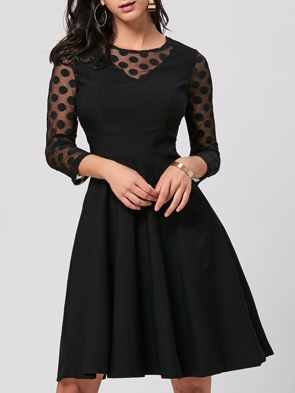 Mesh Insert Polka Dot Skater Dress - BLACK 2XL