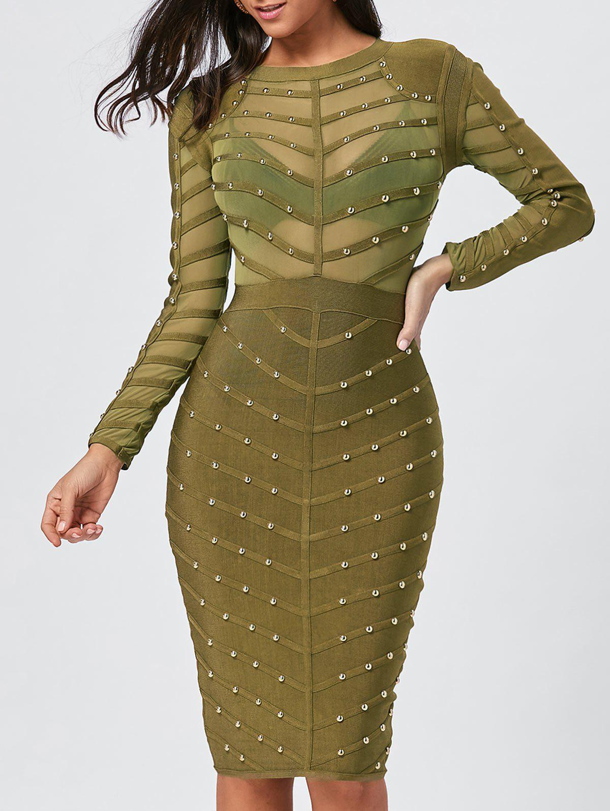 Semi Sheer Long Sleeve Rivet Bandage Dress - GREEN M