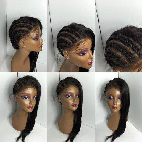 Free Part Long Braids Straight Lace Front Real Human Hair Wig - BLACK