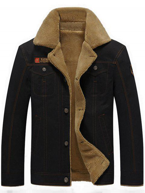 Button Up Patched Faux Shearling Jacket - BLACK M