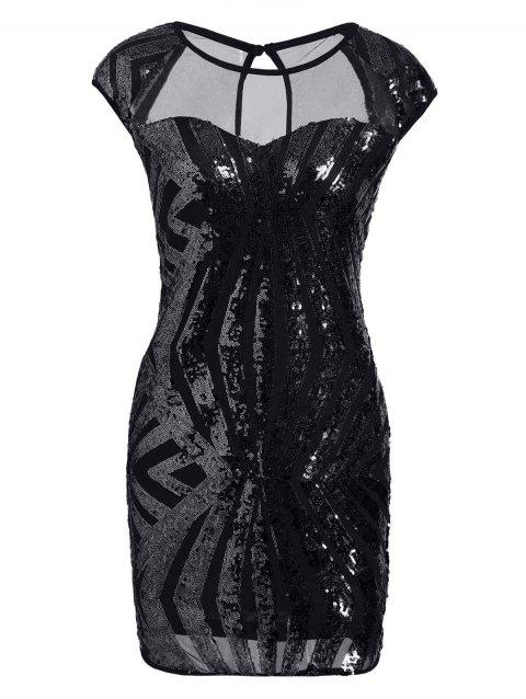 Mesh Insert Sequin Bodycon Club Dress - BLACK M