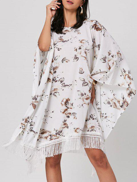 Batwing Sleeve Floral Print Fringed Robe Midi - Blanc ONE SIZE