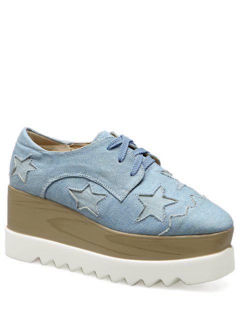 Denim Star Pattern Wedge Shoes - Bleu Léger 39