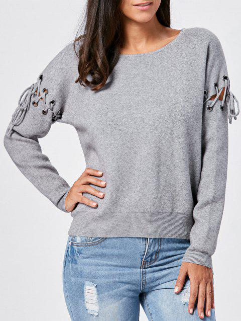 Pullover Lace Up Ribbed Knitwear - GRAY M