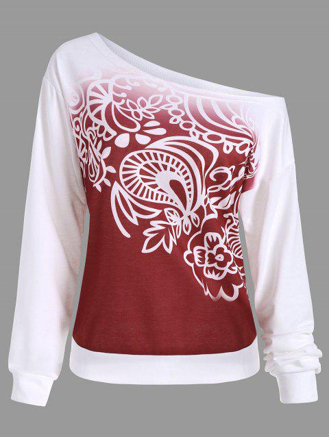 Sweat-shirt Ombré à Motif Manches Longues - Rouge S