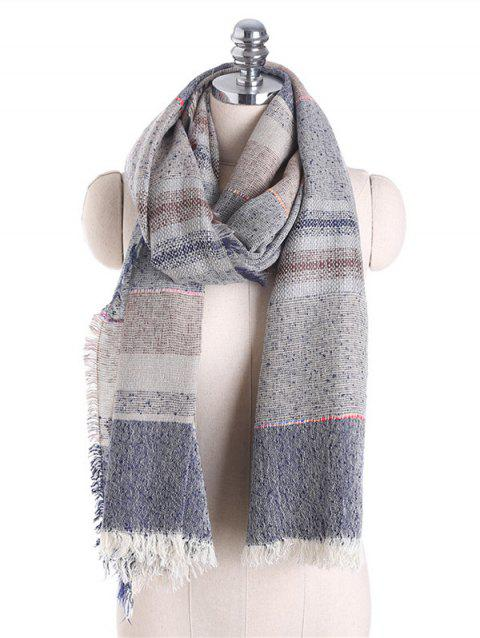 Fringed Brim Checked Cotton Blended Shawl Scarf - GRAY