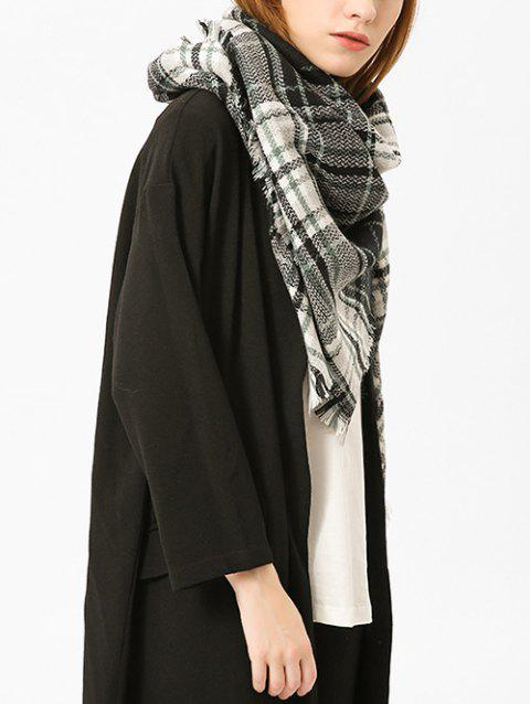 Checked Fringed Brim Cotton Blended Shawl Scarf - BLACK