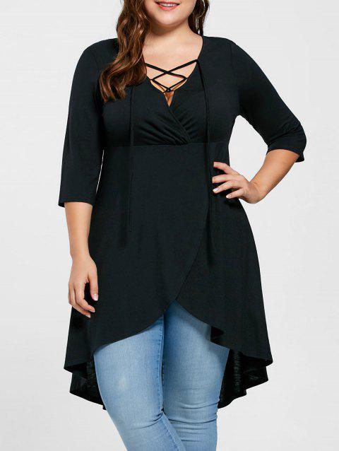 Plus Size Lace Up High Low Hem Top - BLACK 2XL