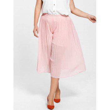 Plus Size Pleated Wide Leg Pants - LIGHT PINK 3XL
