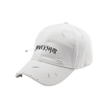 Broken Hole Safety Pin Circle Letters Baseball Cap -  WHITE