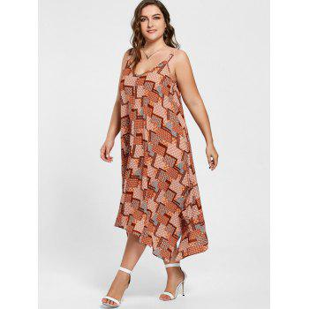 Plus Size Spaghetti Strap Geometric Print Handkerchief Dress - 5XL 5XL