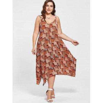 Plus Size Spaghetti Strap Geometric Print Handkerchief Dress - ORANGE 2XL