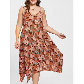 Plus Size Spaghetti Strap Geometric Print Handkerchief Dress - ORANGE ORANGE