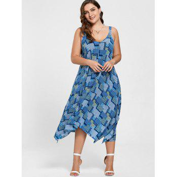 Plus Size Spaghetti Strap Geometric Print Handkerchief Dress - BLUE 5XL