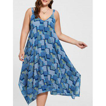 Plus Size Spaghetti Strap Geometric Print Handkerchief Dress - BLUE 3XL