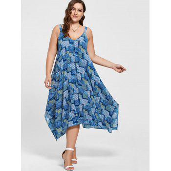 Plus Size Spaghetti Strap Geometric Print Handkerchief Dress - 3XL 3XL