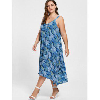 Plus Size Spaghetti Strap Geometric Print Handkerchief Dress - BLUE BLUE