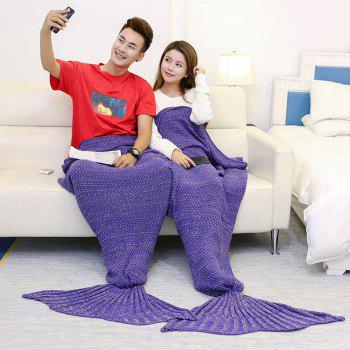 Knitted Throw Wrap Mermaid Blanket For Lovers - PURPLE PURPLE