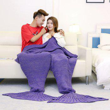 Knitted Throw Wrap Mermaid Blanket For Lovers - PURPLE 180*155CM