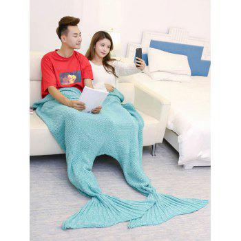 Knitted Throw Wrap Mermaid Blanket For Lovers - TURQUOISE GREEN 180*155CM