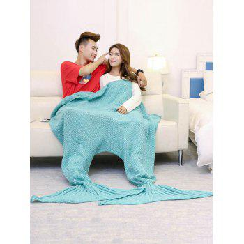 Knitted Throw Wrap Mermaid Blanket For Lovers - TURQUOISE GREEN TURQUOISE GREEN