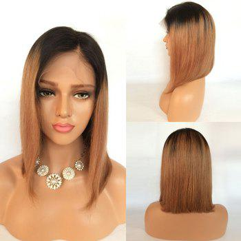 Short Ombre Side Part Straight Bob Lace Front Human Hair Wig - BLACK AND BROWN BLACK/BROWN