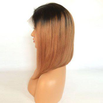 Short Ombre Side Part Straight Bob Lace Front Human Hair Wig - BLACK/BROWN