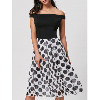Off The Shoulder Polka Dot Midi Dress - BLACK XL