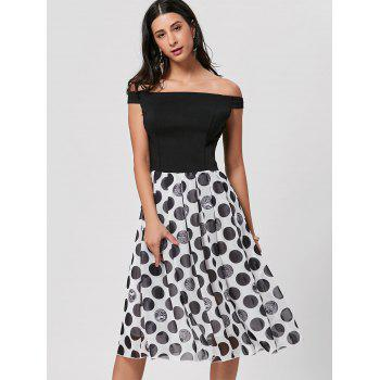 Off The Shoulder Polka Dot Midi Dress - BLACK BLACK