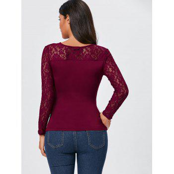 Asymmetrical Lace Insert Zipper Draped T-shirt - WINE RED WINE RED