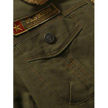 Button Up Patched Faux Shearling Jacket - ARMY GREEN 3XL