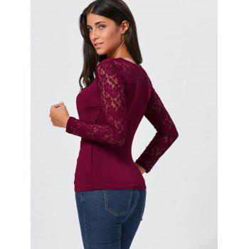 Asymmetrical Lace Insert Zipper Draped T-shirt - 2XL 2XL