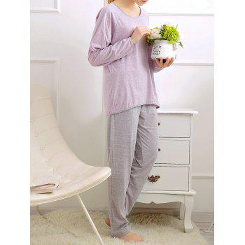 Long Sleeves Pajamas T-shirt and Pants - LIGHT PURPLE LIGHT PURPLE