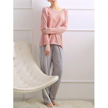 Long Sleeves Pajamas T-shirt and Pants - ORANGEPINK ORANGEPINK