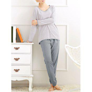 Long Sleeves Pajamas T-shirt and Pants - LIGHT GRAY XL