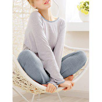 Long Sleeves Pajamas T-shirt and Pants - LIGHT GRAY LIGHT GRAY