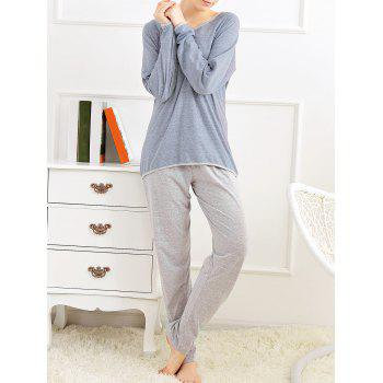 Long Sleeves Pajamas T-shirt and Pants - BLUE GRAY M