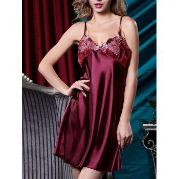 Embroidered Satin Slip Dress with Robe - XL XL