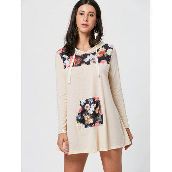 Floral Print Kangaroo Pocket Hooded Mini Dress - S S
