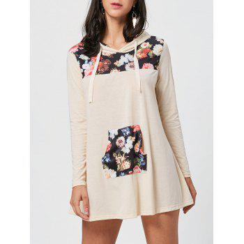 Floral Print Kangaroo Pocket Hooded Mini Dress - COLORMIX S
