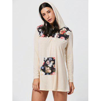 Floral Print Kangaroo Pocket Hooded Mini Dress - M M