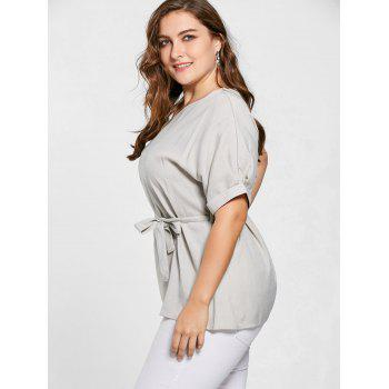 Plus Size Belted V Neck Top - 4XL 4XL