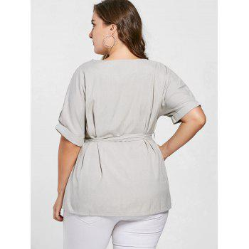 Plus Size Belted V Neck Top - 3XL 3XL