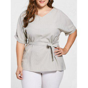 Plus Size Belted V Neck Top - GRAY 2XL