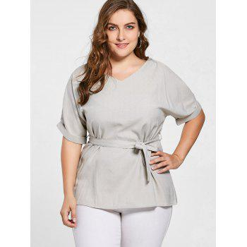 Plus Size Belted V Neck Top - GRAY GRAY
